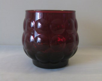 Vintage Anchor Hocking Ruby Red Bubble Glass / Ruby Red Bubble Glass Tumbler / Ruby Red Bubble Glass Old Fashion Tumbler / Vintage Red Glass