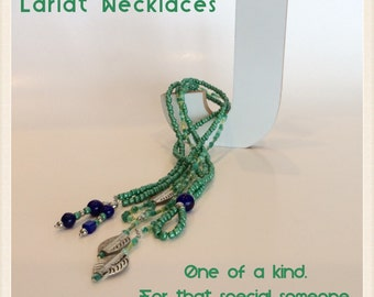 Green Glass Bead Lariat Necklace