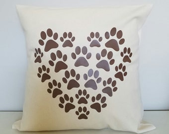 Paws Heart Throw Pillow - Great Gift For Animal Lovers - 16x16 - Ivory or White - Any Color Paws Dogs and Cats