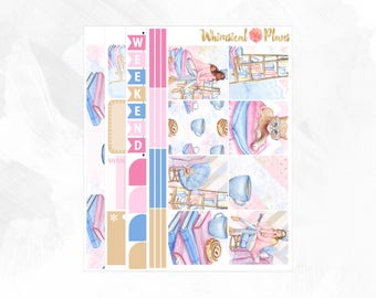 Cozy HORIZONTAL Kit - Matte Glossy Erin Condren Horizontal Planner Stickers - Pink Blue Tan Kitten Cat Books Reading Coffee Shop