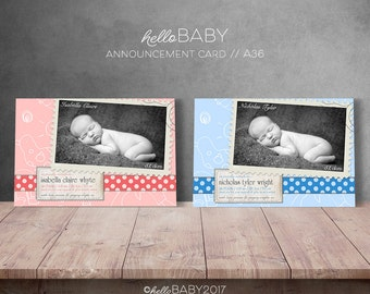 6x4 Inch Personalised Birth Announcement Card, Print it yourself - Girl Announcement, Boy Announcement // A36