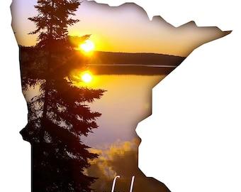 Minnesota Wall Art State Shape Peaceful Lake