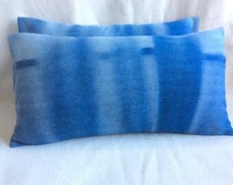 Pair of Faded Denim Designer Pillow Covers - 12x22 Lumbar Covers - Teen Pillows