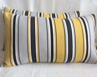 Pair of Striped Lumbar Designer Pillow Covers - Yellow/ Gray/ Black - 12x20 Inch Covers