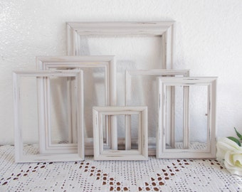 Light Grey Picture Frame Set Up Cycled Vintage Photo Decoration Rustic Shabby Chic Gray French Country Farmhouse Beach Cottage Home Decor