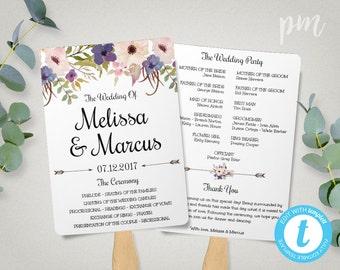 Lavender Wedding Program Fan Template, Watercolor Flowers, Wedding Fan Program Template, Ceremony Program, Watercolor Wedding Fans