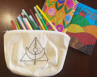 Moon & Triangle Unbleached Calico Pencil Case/Pouch/Bag/Cosmetic Case/Storage/Makeup Bag/Zipper/Gift/Zippered Bag/Coin Purse/Zippered Pouch