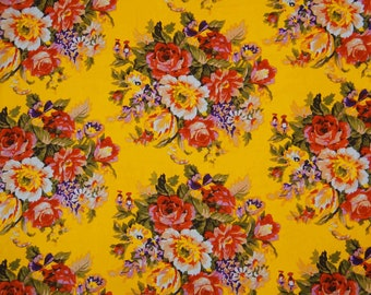 "Decorative Fabric, Yellow Fabric, Multicolor Floral Print, Home Accessories, 45"" Inch Cotton Fabric By The Yard ZBC7447A"