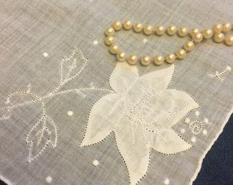 Mid Century White Hanky, FREE SHIPPING Monogrammed Wedding Initial J Vintage Bridal Monogram Handkerchief Embroidered Hankies Floral Hankie