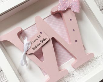Personalised Name Frame - Nursery Decor - Initial Frame - Perfect for New Baby Gift, Christening, Baby Shower - Customised for you