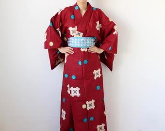 cotton kimono, Japanese dress, kimono, wrap dress, lounge wear /1689
