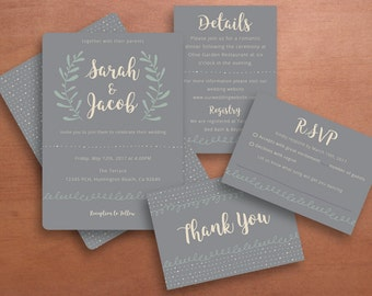 Grey and Floral Wedding Invitation, Thank You Card, Details Card, and RSVP Card