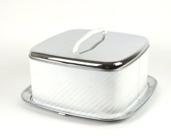 Vintage Cake Carrier White Silver Caddy Stand Atomic Retro Metal Kitchen Baking Cupcake Pie Saver Bakery Tray Display Carry MCM Stainless