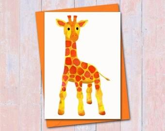 Giraffe card, Custom colours, Baby giraffe card, Blank card, Giraffe birthday card, Giraffe greeting card, Cute card, New baby giraffe card