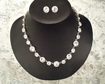 Rhinestone Jewelry Set, Bridal Necklace & Stud Earring, Wedding Jewelry (JS1016)