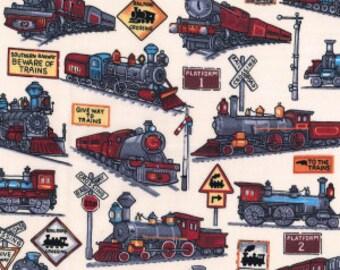 Trains Cotton Poplin Print