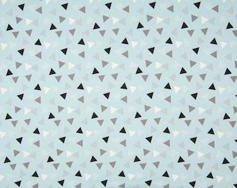 Blue Triangles Cotton Lycra Jersey Knit Fabric
