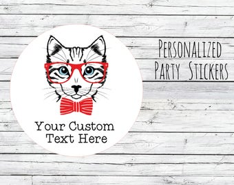 CUSTOM Personalized Cat Hipster Party Favors Labels or Tags Stickers Favors, Thank You Labels, Envelope Seals, Party Tags