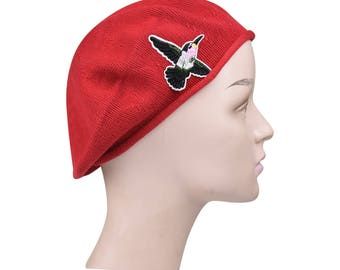 Ladies Red Beret Hat a Hummingbird Applique Stylish Fashionable Comfortable Cotton Womens Hat Cute French Beret