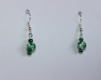 Green and White Floral Dangle Earrings