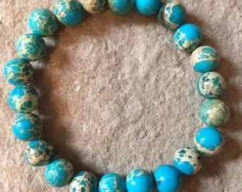 Genuine 8mm Variscite semi precious gemstone elastic bracelet
