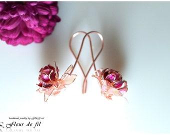 """Handmade Earrings - """"Chrysanthemum"""", Sterling silver Earrings, Copper wire, Crystal resin Earrings, Red Earrings"""