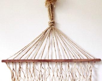 Vintage rope hammock, boho garden decor