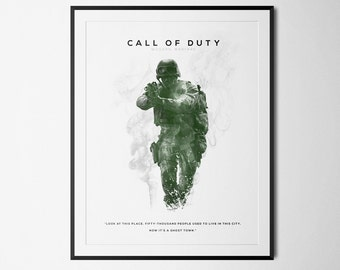 Call of Duty: Modern Warfare Inspired Double Exposure Poster Print - Video Game Art