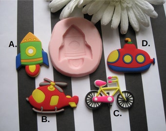 Fun Silicone Molds - Rocket Ship Mold - Helicopter Mold - Submarine Mold - Bicycle Mold - Food Safe Mold - Flexible Mold - Fondant Molds