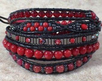 Ruby Slippers Five Wrap Beaded Bracelet