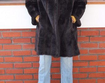 Faux fur dark chocolate brown fur coat