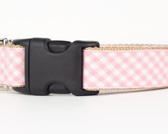 Pink Gingham Puppy Collar, Patterned Fabric Dog Collar, Designer Dog Collar, Custom Dog Collar, 1 Inch Dog Collar, Dog Accessories