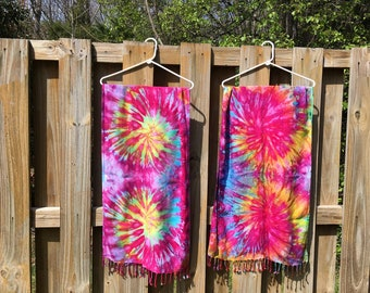 MADE TO ORDER Tie Dye Fringe Scarf Custom - Psychedelic Trippy Boho Music Festival Pashmina Shawl TieDye Beach Lightweight Wrap