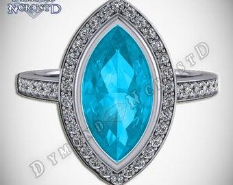 Stunning Aquamarine & White Swarovski Marquise Cut  Engagement Ring