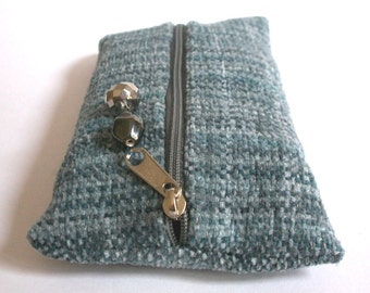 Pencil grey hand-woven from hand-dyed cotton chenille with pendant made from glass beads, pins, Crimea stuff, mini bags