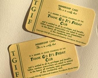 Set of Two Novelty TGIF Club Membership Cards by Customcraft Creations Providence Rhode Island