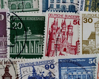 German Architectural Postage Stamps // Castles // Buildings // Architecture // Germany // Scrapbooking // Ephemera // Decoupage // Travel