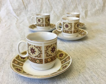 Vintage Gold Trimmed Tan and Yellow Floral Demitasse Cups and Saucers, Set of 4, Espresso Set