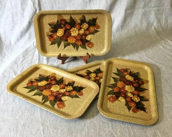 Vintage Earth Tone Floral Strawflower Metal Trays, Set of 4