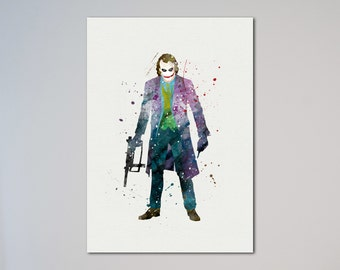 The Joker The Dark Knight Batman Poster Watercolor Print Fine Art Giclee Print Poster Home Decor Wall Hanging Archenemy of Batman