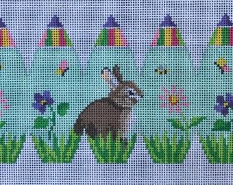 "Handpainted Needlepoint Susan Roberts SR414 ""Bunny in Flowers"""