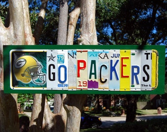 GO PACKERS logo, Green Bay Packers football license plate sign