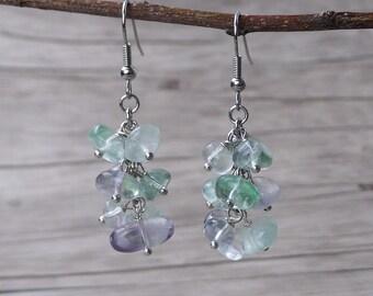 Fluorite Earrings Fluorite Bead Earrings Gemstone Earrings BOHO Earrings Gemstone Drop Earrings Dangle Earrings Gemstone Bead Earring ED-030