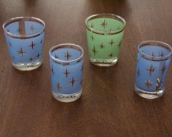 Mid Century Starburst Glasses set of four