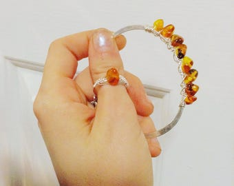 Sterling amber braided wrap ring