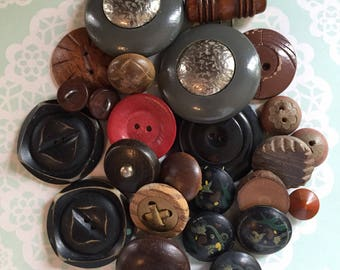 Vtg Wooden Buttons Hand Painted Buttons Division 3 Section 14 Competition Buttons