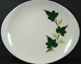 Blue Ridge Southern Pottery Baltic Ivy Oval Platter 13.5in x 11.5in Lug Handle