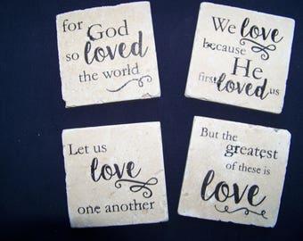 Travertine Coaster Set: Love Verses Set 1