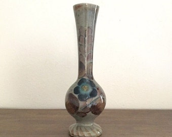 Vintage Vase; Hand Painted Gray Floral Pattern Ceramic Vase; Made In Mexico; Bud Vase; Vintage Ceramic Vase; Blue Flower