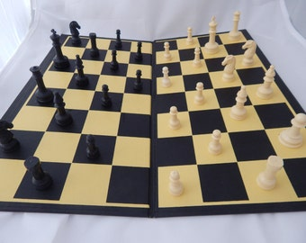 Vintage Checkers and Chess Board and Pieces